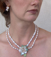 Figurative sculpural Freshwater Pearl Necklace in form of a realistic flower