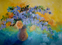 Impressionistic Painting of Jacaranda and Roses
